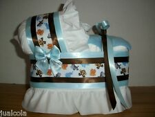 JUNGLE ANIMAL  BLUE BROWN BOY DIAPER BASSINET BABY SHOWER SAFARI CENTERPIECE