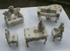 LOT Vintage Porcelain Victorian Doll House Furniture Bethwood Royal China Tables