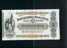 Uruguay Londres y Rio de la Plata 50 pesos 1872 - XF