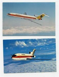 2 Continental Airlines Boeing 727 Trijet In Flight Postcards