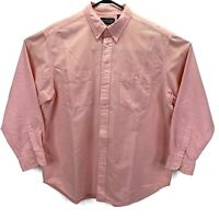 Roundtree & Yorke Oxford Button Down Long Sleeve Shirt Coral Mens Size XL