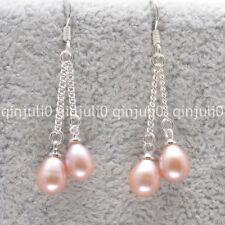 Jolie! 6-7 mm rose akoya Freshwater Pearl Silver Hook Drop Dangle Boucle d'oreille JE100