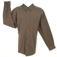 DOCKERS Casual Button Up Shirt Mens Sz 2XLT Brown Cotton Blend Long Sleeve NICE!