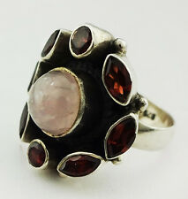 VINTAGE .925 Sterling Silver GENUINE Pale Rose MOONSTONE & GARNETS RING