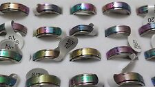 10 X Unisex Rainbow stainless steel Spinning Rotating Rings wholesale Job Lot