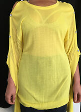 new MICHAEL SIMON OPEN SHOULDER JEWELED JUMPER TOP XL YELLOW 16 / 18