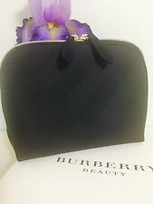 Burberry Beauty Black Toiletry Cosmetic Makeup Dopp Kit Case Embossed Bag New