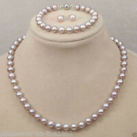 8-9mm Genuine Natural Freshwater Purple Pearl Necklace Bracelet & Earring Set