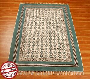 Dining Room Cotton Area Rug Decorative Carpet Hand Block Printed Dhurrie 9x12 ft