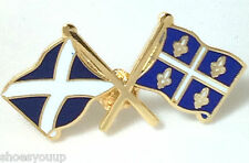 Scotland & Canadian Quebec Friendship Flags Enamel Lapel Pin Badge
