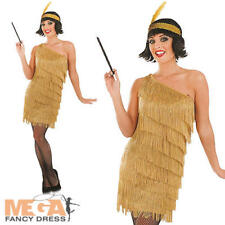 1920s Gold Flapper Girl Ladies Fancy Dress 20s Gatsby Womens Adults Costume New