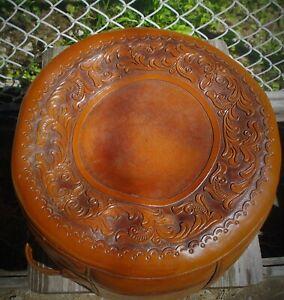 Handmade Vintage Heavy Brazilian Leather Tooled Footstool / Hassock /Unfilled