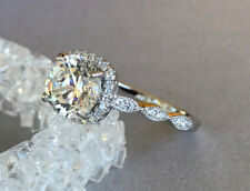 Certified 2.70Ct White Round Diamond Halo Engagement Ring 14K Solid White Gold