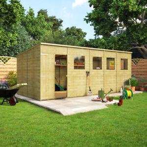 18 x 8 Pent Pressure Treated Wooden Garden Shed With Offset Double Door Windowed
