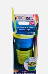 Snackeez 2-in-1 Snack & Drink Cup (Ages 8+) 16Oz Drink Cup 80z Snack Cup NEW