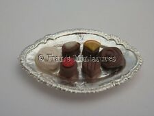 Dolls house food: Silver tray of Belgian chocolates   -By Fran