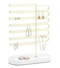 Umbra TRINKET EARRING TREE for 32 pairs JEWELLERY Holder ORGANISER Brass WHITE