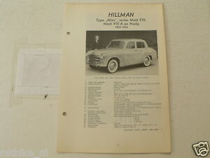 HILL2--HILMAN 1955-1956 MINX MARK VIII,MARK VIII-A,HUSKY ,TECHNICAL INFO CAR
