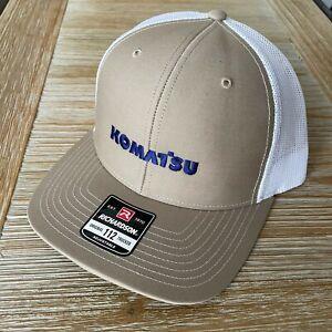 NEW - Komatsu Embroidered Richardson 112 Trucker Hat Cap - KHAKI / WHITE