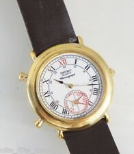 Seiko Men's 8M25-6009 Chronograph Alarm Watch Brown Leather Strap