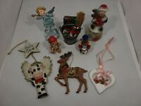 Vintage LOT of Christmas Ornaments & Figurines -Ceramic-Resin-Metal Hand Painted