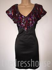 BNWT DRAMA QUEEN Size 12 BLACK SATIN SEQUIN RUFFLE DRESS RRP £89