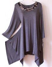 NEW~Long Gray Navy Blue Silver Bead Tunic Blouse Shirt Plus Top~22/24/2X