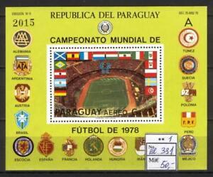 Soccer 1978 B80 MNH Paraguay Block Stadium Buenos Aires CV 50 eur