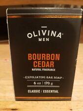 Olivina Men Bourbon Cedar Exfoliating Bar Soap Classic Essential
