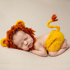 Baby Lion Animal Costume Photo Photography Props Hat + Pants Outfits UK Stock