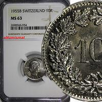Switzerland Copper-Nickel 1955-B 10 Rappen NGC MS63 BU COIN KM# 27