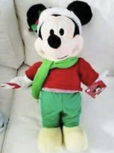 """Disney Mickey Mouse with Green Scarf 20"""" Christmas Holiday Greeter Plush"""