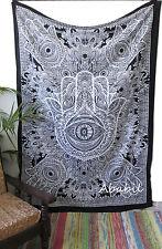 Twin Black & White Hamsa Hand Tapestry Wall Hanging Hippie Room Decorative Throw