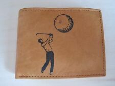 Mens Mankind Leather RFID Wallet w/ GOLFING/ GOLFER Image & Message (Great Gift)