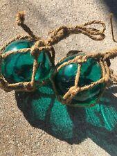 Lot Of 2 Vintage Glass Fishing Float Blue Green in Net 3�