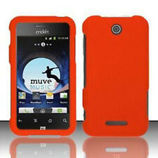 For Cricket ZTE Score Rubberized HARD Protector Case Snap On Phone Cover Orange