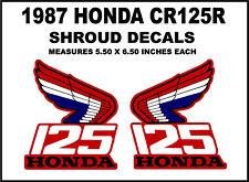 Tank decals for 1987 Honda CR125 Dirtbike   CR125r CR 125 Radiator Shroud Emblem