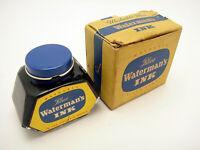 Vintage Watermans Fountain Pen Ink Washable Blue Unused In Box 2 Oz