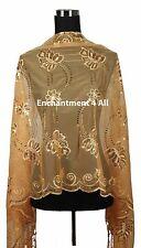 Handmade Lace FLORAL Pattern Scarf Shawl Wrap w/ Sequin & Crochet Fringe, Orange