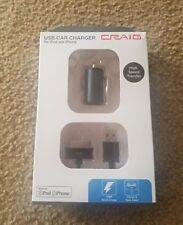 Craig Usb Car Charger iPod iPhone 3.3' Charge And Sync Cable 1 Amp Bnib