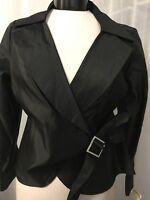 Talbots Women's Top Petites Pure Silk Tie Down Black Blouse Top Size 8P NWT