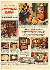 1950 vintage AD WESTERN AUTO STORES  Truetone Radio and movie screenTVs 072617