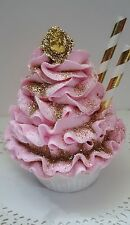 Fake Cupcake Marie Antoinette Eat More Cake Pink Gold Cameo Shabby Cottage Decor