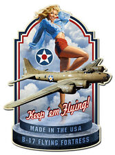 MADE IN USA SHAPED WWII HILDEBRANDT METAL SIGN PINUP GIRL HAND SIGNED FREE PRINT