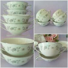 Vintage 1964 *NORITAKE JAPAN - Wellesley #6214* Double Handled SOUP COUPES vgc