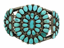 Zuni Bracelet, Handmade, Lone Mountain Turquoise, Silver, Circa 1960s, 7 in