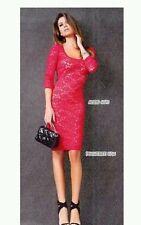 DENNY ROSE TUBINO abito vestito pizzo art. 6075 corallo tg.M e tg. L