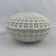 White Basketweave Dry Vase Ceramic Glass