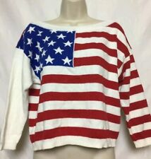 New listing Womens Vintage American Flag Print 3/4 Sleeve Top Size Small