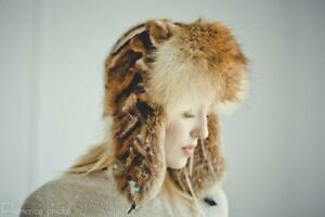 Fox Real Fur Hat Womens Winter Hats Ushanka Russian Trapper Hat